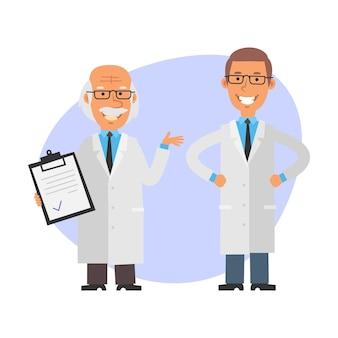 Oude professor houdt tablet vast en lacht jonge wetenschapper houdt zijn handen op zijn heupen en glimlacht
