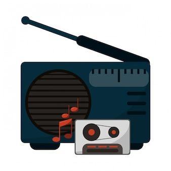 Oude radio-installatie met cassette