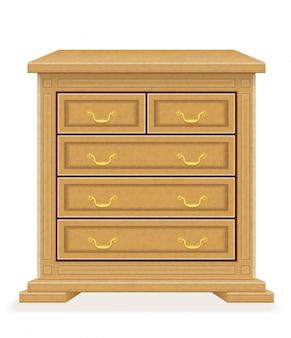 Oude retro houten meubilairladenkast vectorillustratie
