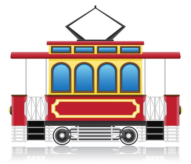 Oude retro tram vectorillustratie