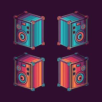 Oude retro vintage luidspreker vectorillustratie
