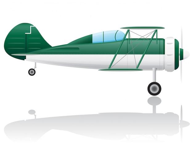 Oude retro vliegtuig vectorillustratie