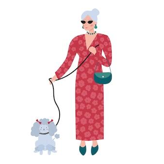 Oude rijke vrouw in rode lange jurk en hond