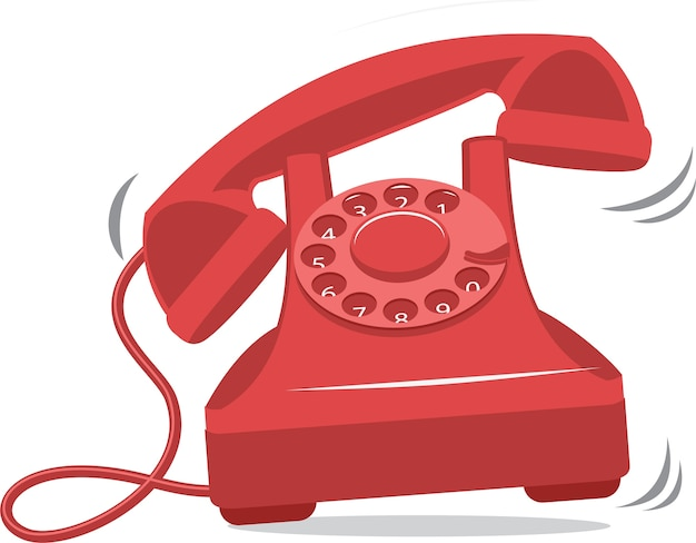 Oude rode vintage telefoon rinkelen