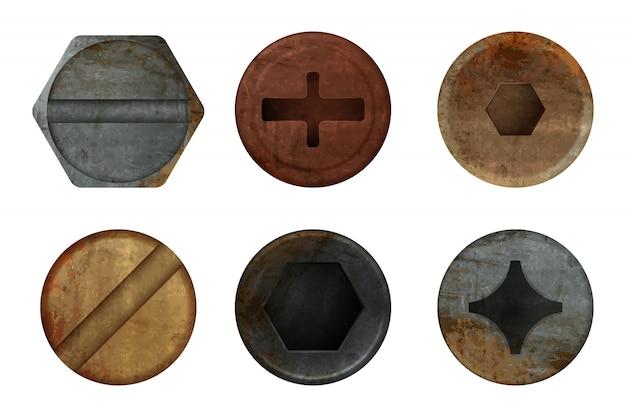 Oude roestige bouten schroef. hardware roest metaal textuur voor verschillende ijzeren gereedschappen. realistische afbeeldingen