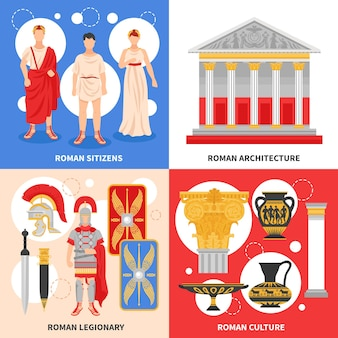 Oude rome illustraties set