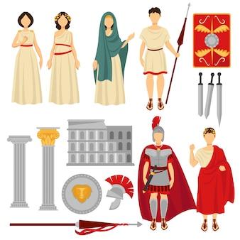 Oude rome mannelijke en vrouwelijke personages en oude overblijfselen