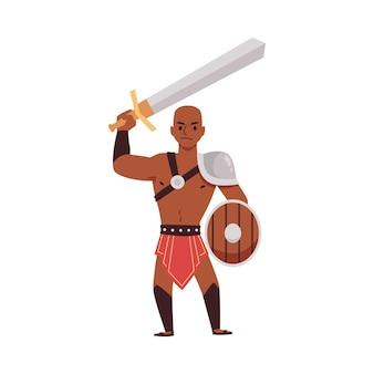 Oude romeinse griekse strijdersgladiator op arena colosseum een illustratie