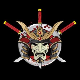 Oude samurai warlord-helm en zwaarden