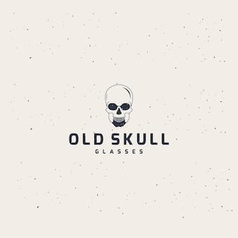 Oude schedel glazen logo