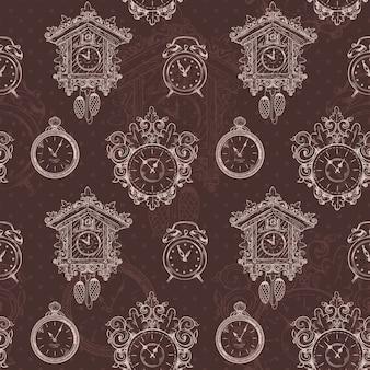 Oude schets uitstekende klok en horloges op bruine naadloze patroon vectorillustratie