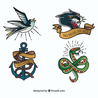 Oude school dieren tattoo collectie