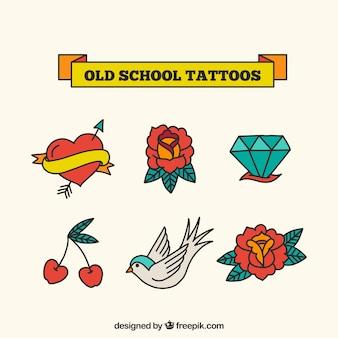 Oude school gekleurde tattoo collectie