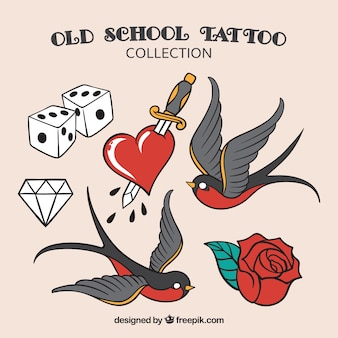 Oude school tattoo collectie