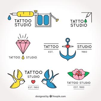 Oude school tattoo logo collectie