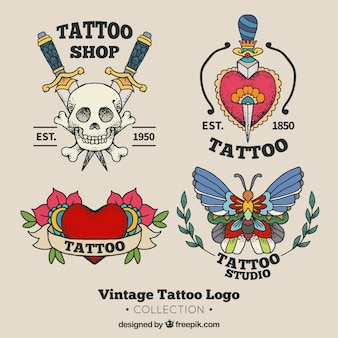 Oude school tattoo studio logo collectie