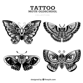Oude school vlinder tattoo collectie