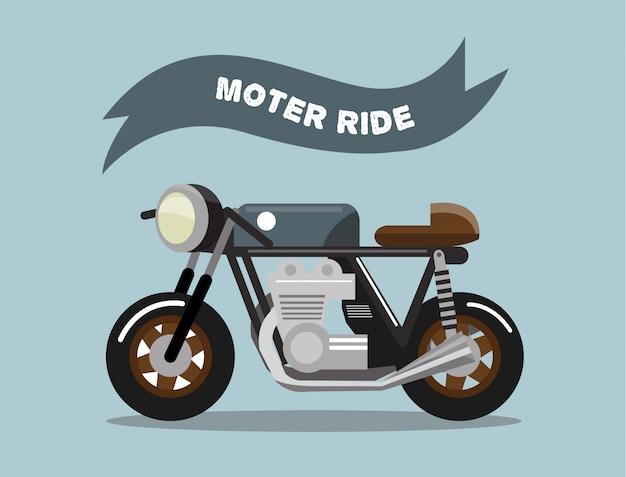 Oude schoolmotorfiets. vintage rijderstijl. vlak ontwerpelement. vector illustratie