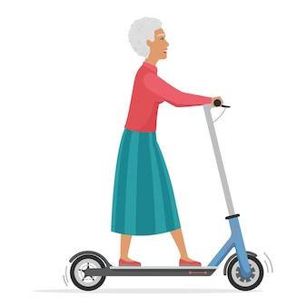 Oude senior vrouw op elektrische scooter stadsvoertuig geïsoleerd