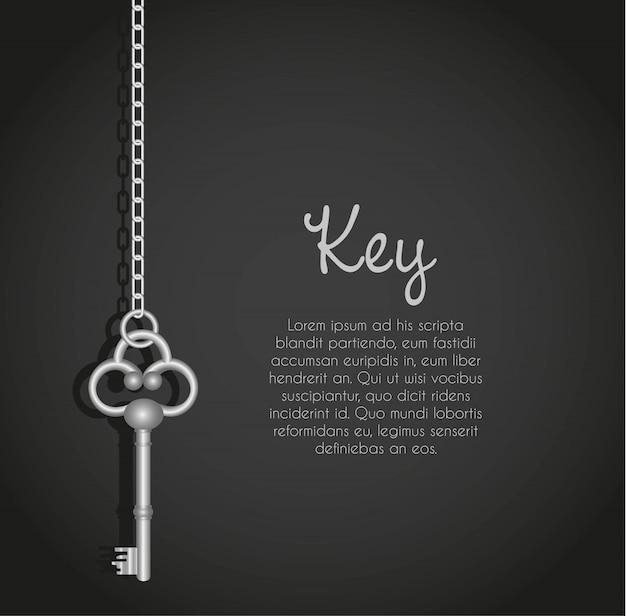 Oude sleutels met schakelketting zwart met tekst