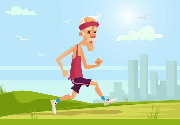Oude sport man karakter met gezonde levensstijl