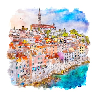 Oude stad rovinj kroatië aquarel schets