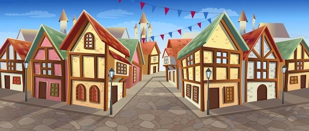Oude stadsstraat met huizen in chaletstijl vectorillustratie in cartoonstijl middeleeuwse stadsstraat