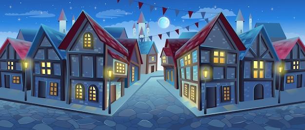Oude stadsstraat met huizen in chaletstijl vectorillustratie in middeleeuwse stad in cartoonstijl