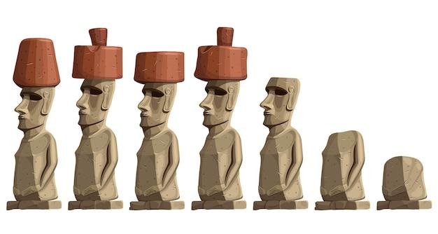 Oude standbeelden op paaseiland