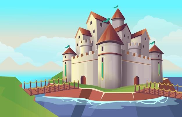 Oude stenen cartoon kasteel met bruggen en rivier voor kinderen. illustratie