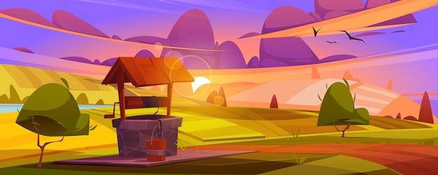Oude stenen put met drinkwater op groene heuvel zomerochtend of avondlandschap met vintage landelijke put met houten dak katrol en emmer op touw boerderij of dorp cartoon afbeelding
