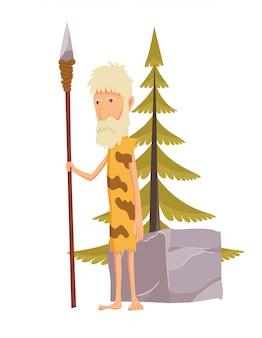 Oude stenen tijdperk man met speer. holbewoner stripfiguur.