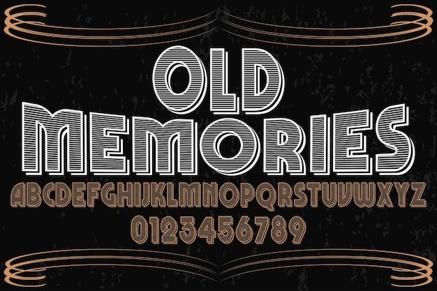 Oude stijl alfabet label ontwerp herinneringen