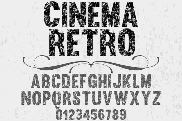 Oude stijl alfabet lettertype ontwerp bioscoop retro