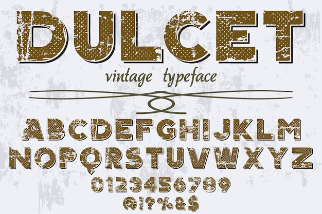Oude stijl belettering lettertype ontwerp dulcet