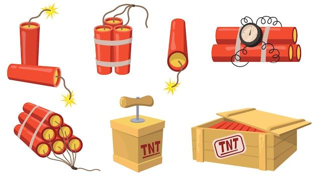 Oude stijl dynamiet platte set voor webdesign. cartoon detonator en tnt lading geïsoleerde vector illustratie collectie. mijnbouw en constructie concept