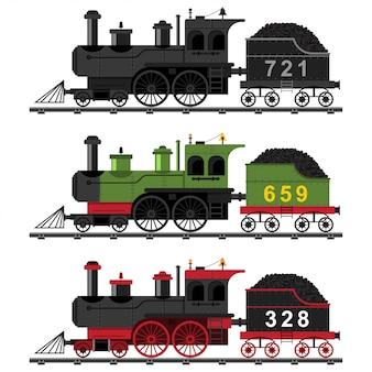 Oude stoommachine trein platte set. cartoon illustratie van een locomotief met kolen op rails geïsoleerd op een witte achtergrond.