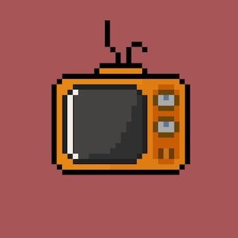Oude televisie met pixelart-stijl