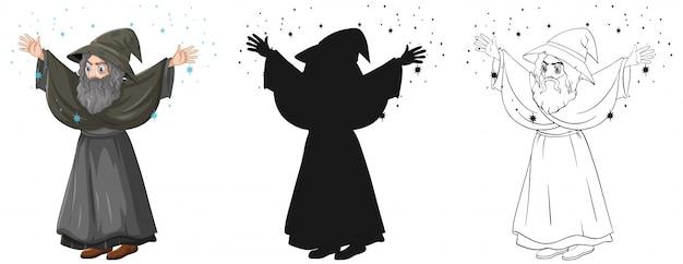 Oude tovenaar met spreuk in kleur en overzicht en silhouet stripfiguur geïsoleerd op een witte achtergrond