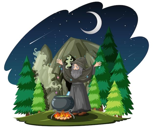 Oude tovenaar met zwarte magische pot in bos cartoon stijl geïsoleerd op een witte achtergrond
