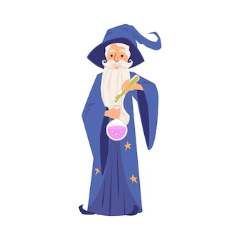 Oude tovenaarsmens in gewaad en hoed staat met reageerbuis en kolf cartoon stijl, geïsoleerd op een witte achtergrond. bebaarde witcher in mantel giet toverdrank in lamp