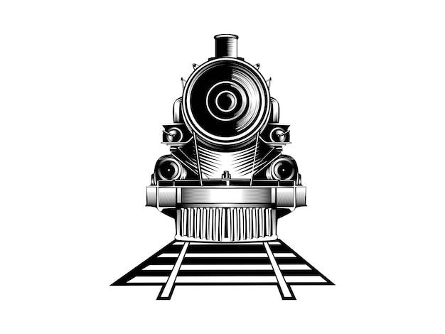 Oude trein zwart-wit