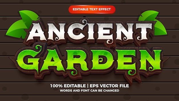 Oude tuin bewerkbare teksteffect strip cartoon games stijl