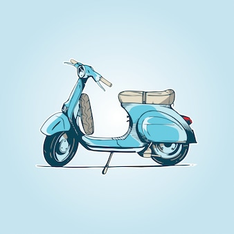 Oude turquoise scooter