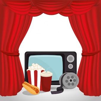Oude tv met cinema-iconen