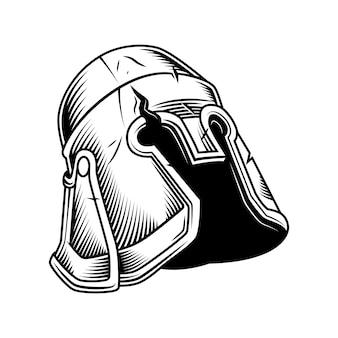 Oude uitstekende helm die op witte vector wordt geïsoleerd