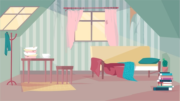 Oude verlaten kamer interieurconcept in platte cartoon design. arme bank met kussen en deken, tafel en stoel, gebarsten borden, raam met rommelige gordijnen. vector illustratie horizontale achtergrond