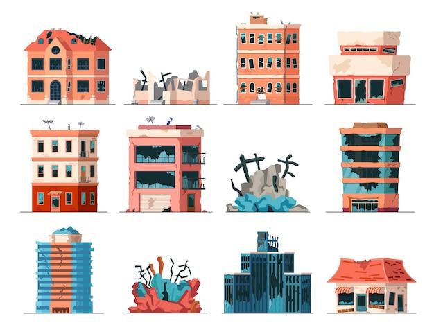 Oude verwoeste, verlaten en ingestorte stadskantoorgebouwen. appartement huizen beschadigd oorlog of aardbeving. gebroken stadsgebouwen vector set. illustratie van verlaten gebouw na instortingsvernietiging