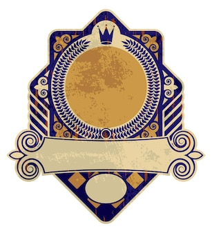 Oude vintage label of logo, heraldiek stijl