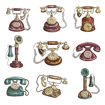 Oude vintage retro telefoons met ontvangers, wijzerplaten, draden.